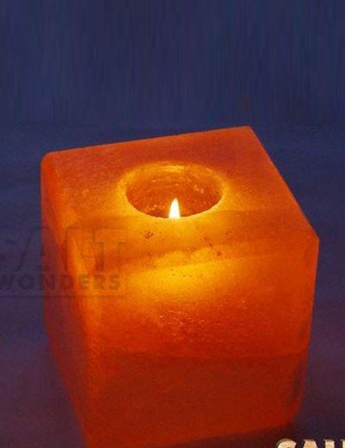 Indusclassic Tln 16 Himalayan Natural Crystal Salt Cube Tea Light Candle Holder